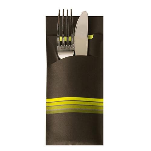 """Bestecktaschen 20 cm x 8,5 cm schwarz/limone """"Stripes"""" inkl. farbiger Serviette 33 x 33 cm 2"""