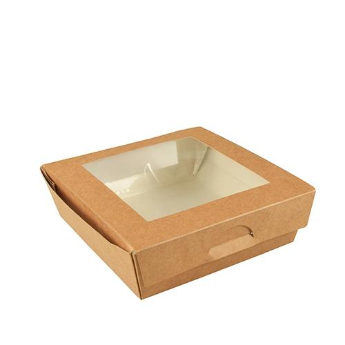 """4 * 25 Feinkostboxen, Pappe mit Sichtfenster aus PLA """"pure"""" eckig 1000 ml 16 cm x 16 cm x 5 cm braun"""