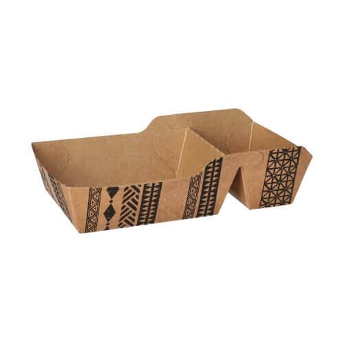"""Pommes-Frites-Trays, Pappe 2-geteilt 3,5 cm x 9,5 cm x 16,9 cm braun """"Maori"""" klein"""