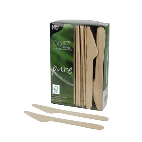 """10 x 100 Messer, Holz """"pure"""" 16,5 cm"""