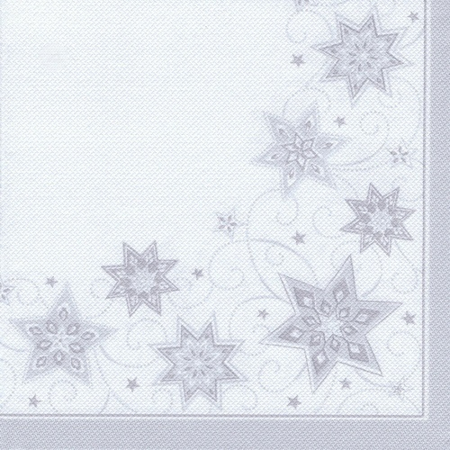 "5 x 50 Servietten ""ROYAL Collection"" 1/4-Falz 40 cm x 40 cm weiss ""Just Stars"""