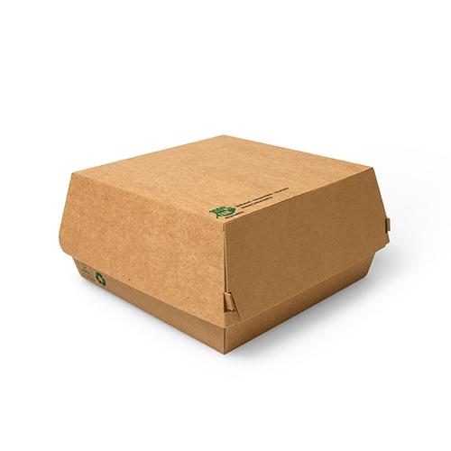 "9 x 25 Burgerboxen, Pappe ""pure"" 9 cm x 15,5 cm x 15,5 cm braun ""100% Fair"" extra groß"