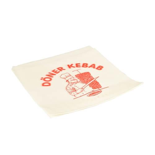 Döner-Kebab-Tüten, Pergament-Ersatz 16 cm x 16 cm weiss fettdicht