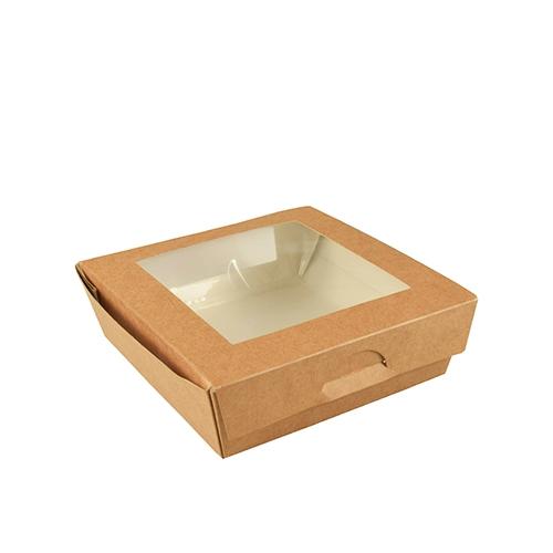 """4 * 25 Feinkostboxen, Pappe mit Sichtfenster aus PLA """"pure"""" eckig 750 ml 14 cm x 14 cm x 5 cm braun"""
